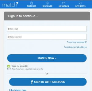 Matchcom login password