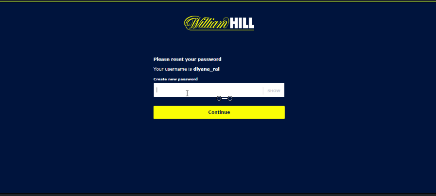 Reset And Change Williamhill Password