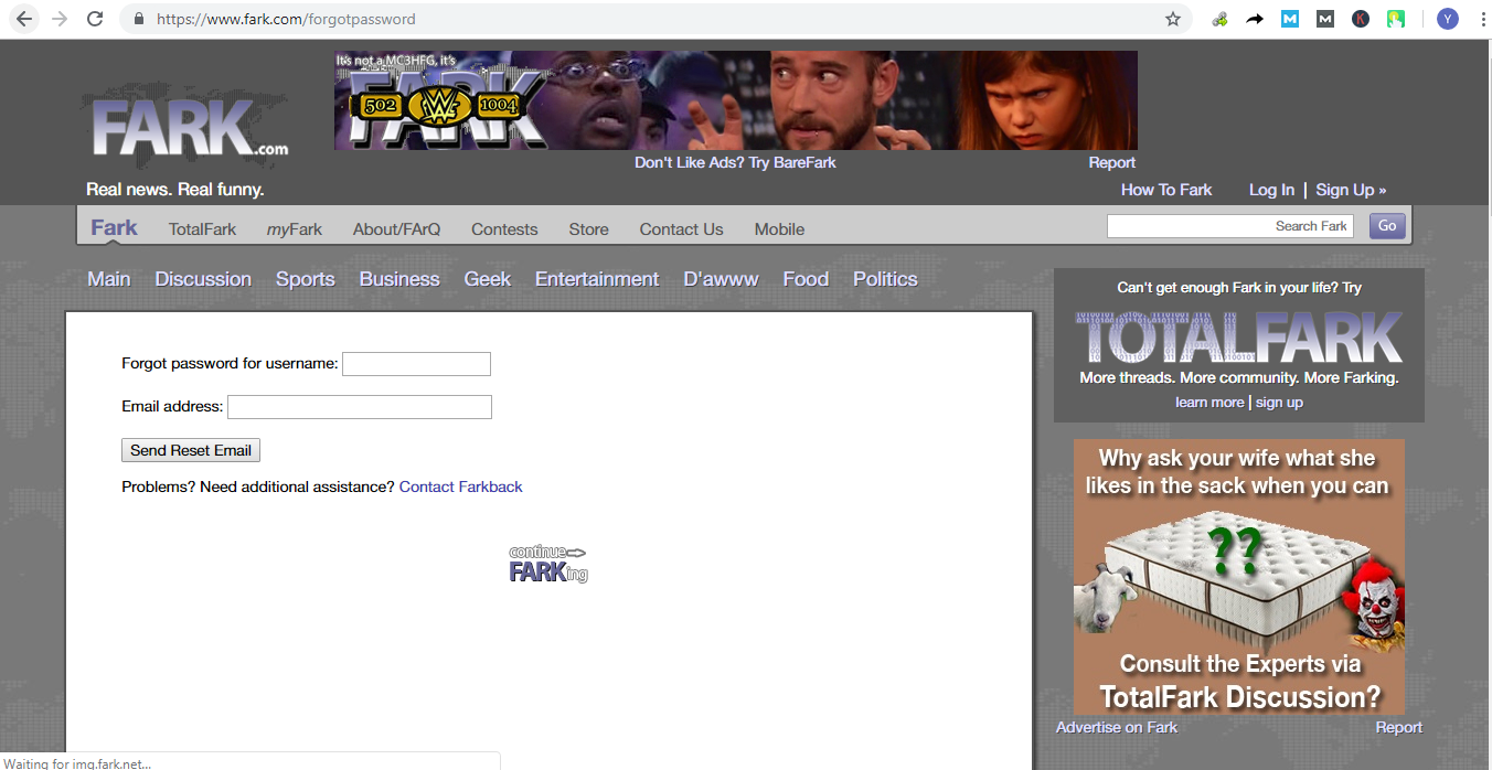 How To Login And Reset Fark Account