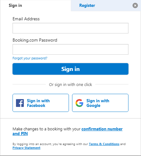 Booking.com Log In And Reset Password