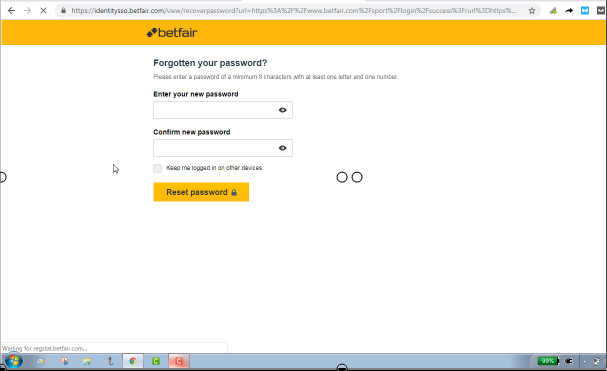 Reset And Change Betfair Password