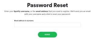 Reset Spotify Password Recovery