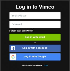 Reset Vimeo Password log in page
