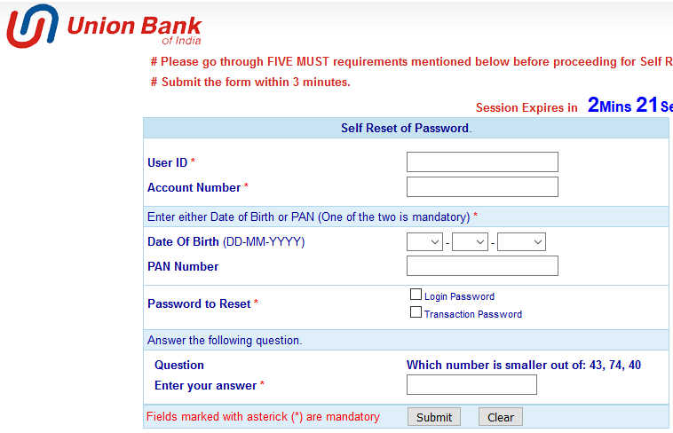 Reset Union Bank Password