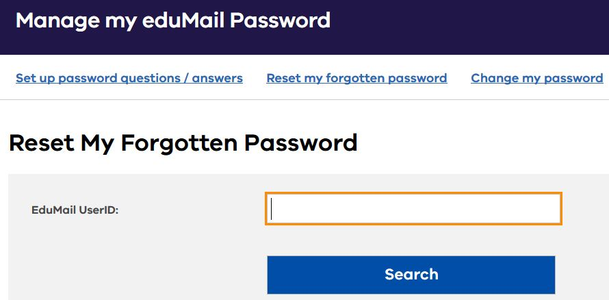 Reset eduMail password