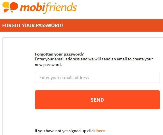 Mobifriends Password Login And Reset