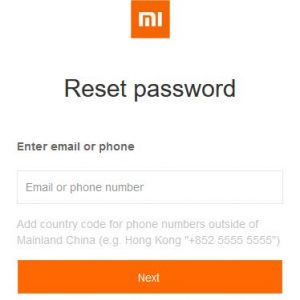 Reset Password of Xiaomi Account