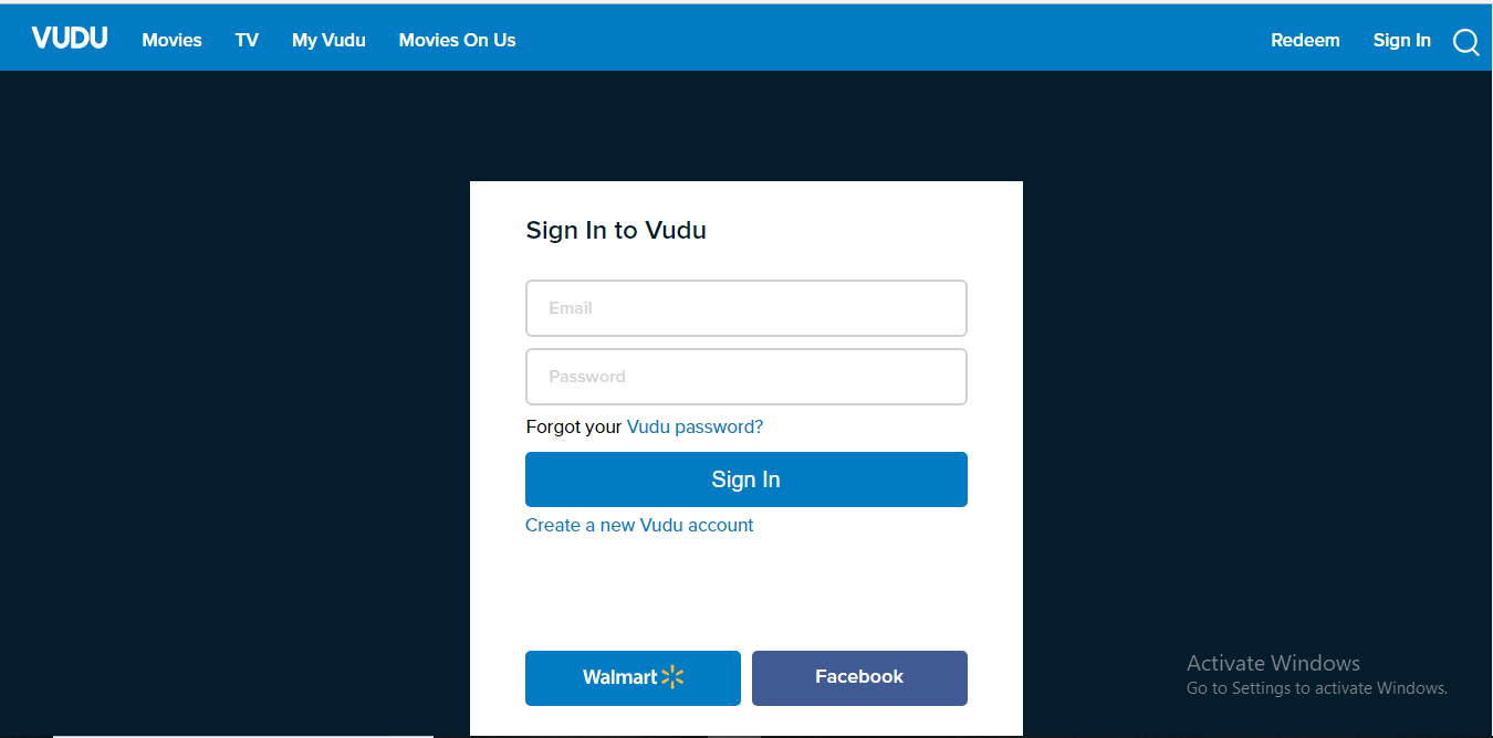 Reset Vudu Password