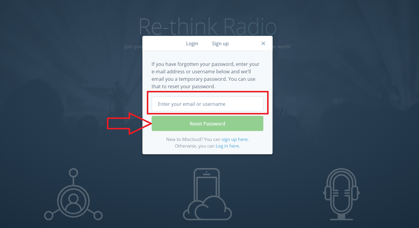 Mixcloud Reset And Change Password