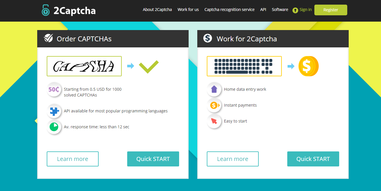 2captcha login and reset