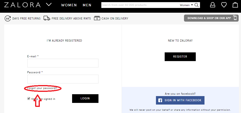 Reset And Change Password In ZALORA