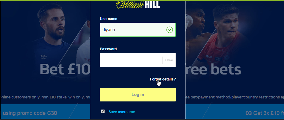 Reset And Change William hill Password