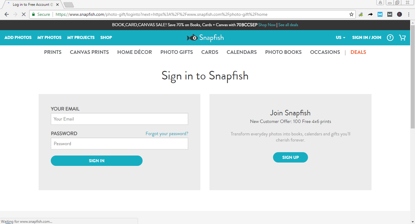 Reset Snapfish Log In Password