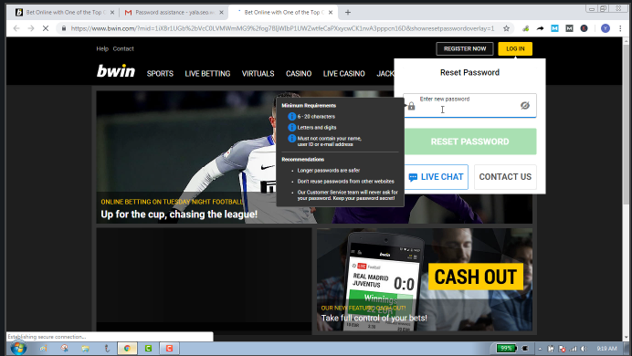 Reset And Change Bwin Password