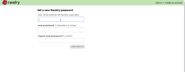 Reset Ravelry Login Password