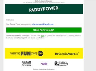 Reset and change Paddypower account
