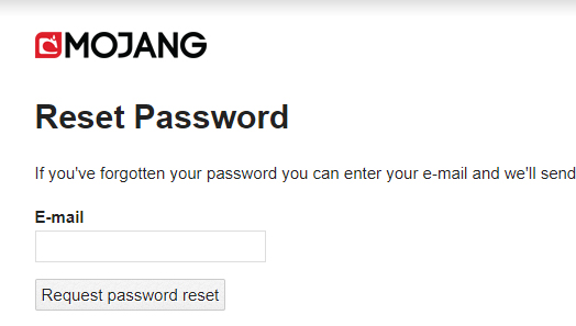 Minecraft login and Password reset